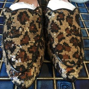kate spade ♠️ sequined leopard print loafers